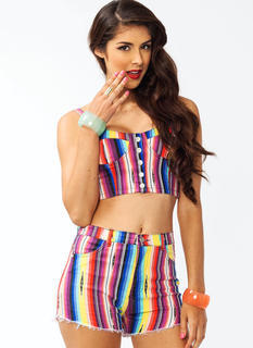 Rainbow Striped Button Bustier
