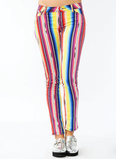 Rainbow Striped Skinny Jeans