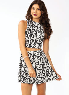 In Love Printed Cropped Top