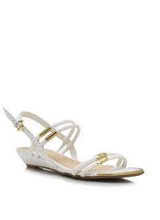 Metal Accent Slingback Wedge Sandals