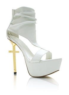 Cut Out Metallic Cross Heels