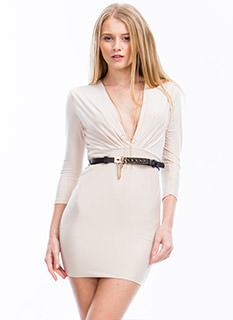 Take The Plunge Belted Mini Dress