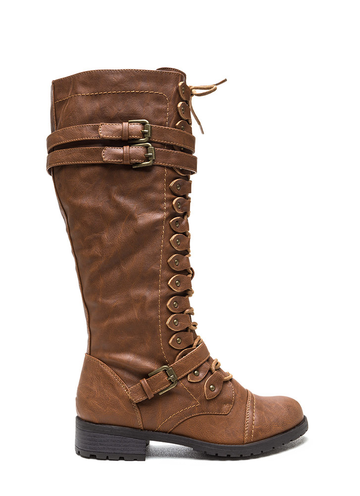 Double Buckle Faux Leather Boots