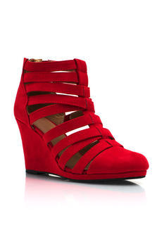 Laddered Faux Suede Wedges