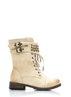 Dome Studded Burnished Combat Boots