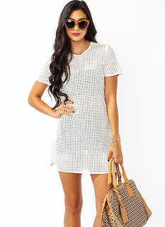 Perfectly Perforated Faux Leather Dress