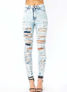 So Destroyed Acid Wash Jeans