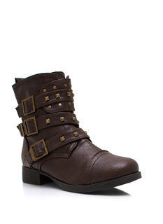 Stud Y Group Buckled Moto Boots