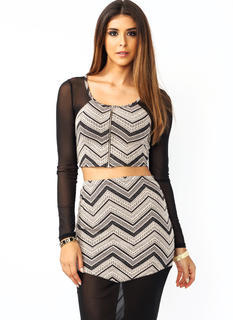 Mesh Around Chevron Cropped Top
