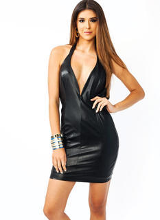 Plunging Faux Leather Halter Dress