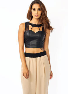 Strappy Mesh Inset Cropped Top