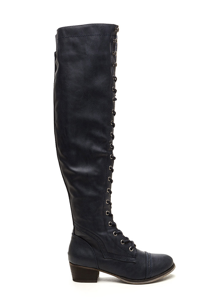 Wing Tip Knee High Boots