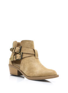 So Strapping Faux Nubuck Cut Out Boots