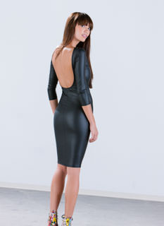 Get The Scoop Faux Leather Dress
