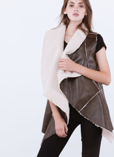 Sherpa Thing Drape Front Vest