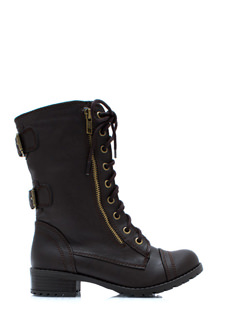 Double Buckle Back Combat Boots