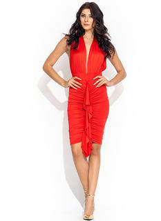 Come To A Halter Ruffled Dress