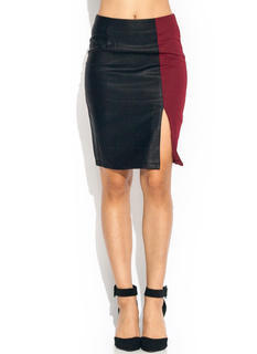 Contrast Faux Leather Pencil Skirt