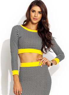 Spot Check Trimmed Cropped Top