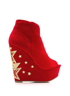 Star Power Faux Suede Booties
