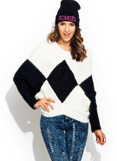 Fuzzy Contrast Harlequin Sweater