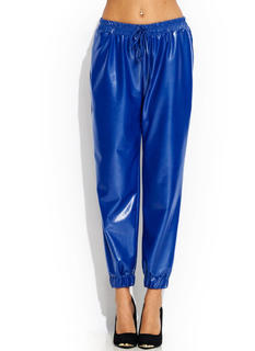 High Shine Faux Leather Joggers