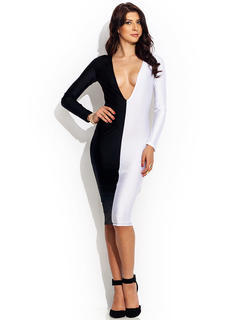 Plunging Colorblock Bodycon Dress