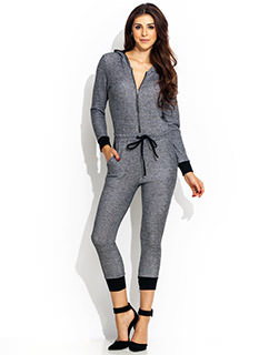 Terry On Hooded Jogger Jumpsuit