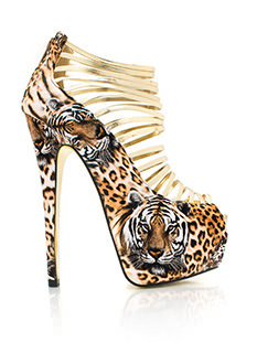 Mixed Kitty Laddered Heels