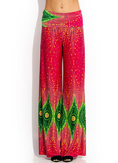 Peacock Feather Palazzo Pants