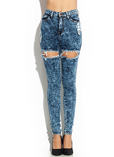 Thigh-High Cut-Out Distressed Jeans