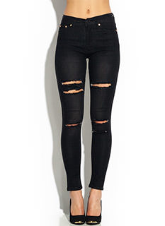 Distressed Cut-Out High-Waisted Jeans