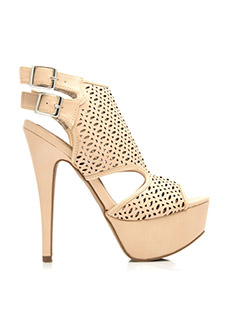 Almond Perforated Platform Heels