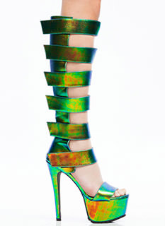 94577 Strap To It Iridescent Gladiator Heels