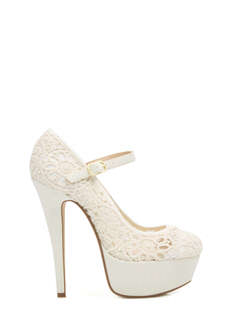 Lace Base Mary Jane Pumps