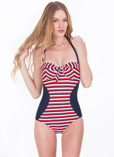 Multi Striped Enhancer Swimsuit