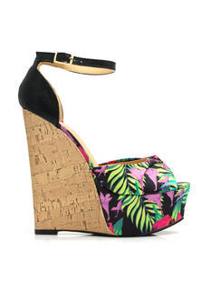 Tropical Oasis Faux Cork Wedges