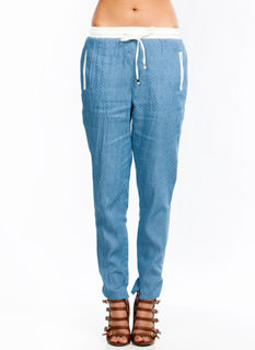 Perfectly Perforated Chambray Joggers