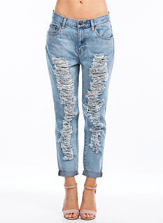 Slashed 'N Frayed Boyfriend Jeans