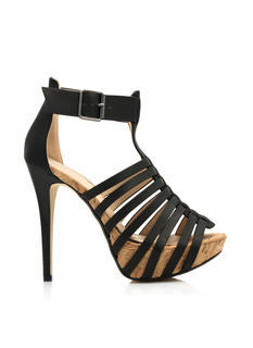 Strappy Lead Faux Cork Heels