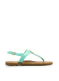 Clover Medallion T-Strap Sandals