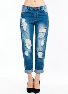 No Stress Distressed Boyfriend Jeans