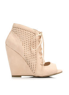 Cut-Out Perforated Bootie Wedges