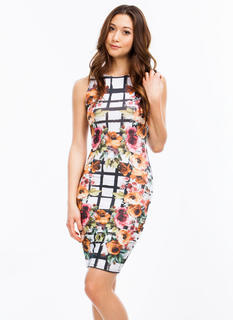 Floral Meets Grid Bodycon Dress