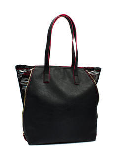 Faux Leather N Mesh Tote