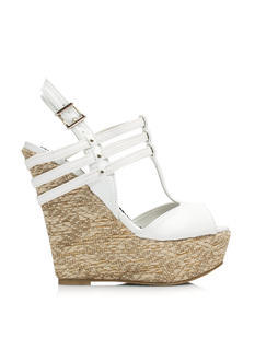 Three-Strap T-Strap Woven Wedges