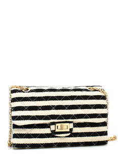 Canvas Striped N Quilted Bag