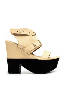 Mixed Media Chunky Platform Heels