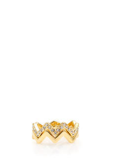 Jeweled And Plain Zigzag Ring Duo