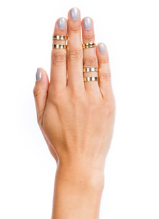Brushed N Cut-Out Midi Ring Set